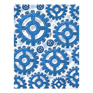 """Blue gear wheels 8.5"""" x 11"""" flyer"""