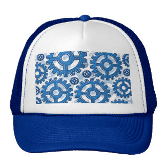 Blue gear wheels trucker hat
