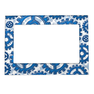Blue gear wheels magnetic picture frame