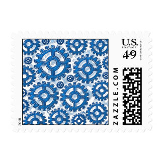 Blue gear wheels postage stamps
