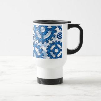 Blue gear wheels travel mug