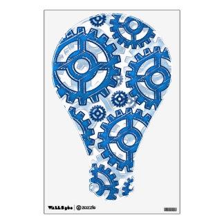 Blue gear wheels wall sticker