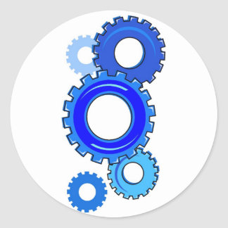Blue Gears Classic Round Sticker