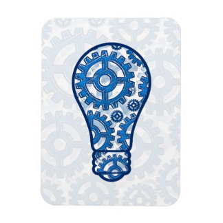 Blue gears light bulb rectangle magnets