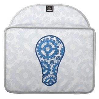 Blue gears light bulb sleeve for MacBooks