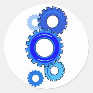 Blue Gears Round Sticker