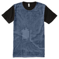 Blue Geek Motherboard Circuit Pattern All-Over-Print Shirt