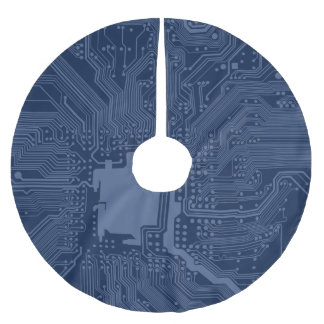 Blue Geek Motherboard Circuit Pattern Brushed Polyester Tree Skirt