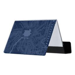 Blue Geek Motherboard Circuit Pattern Desk Business Card Holder