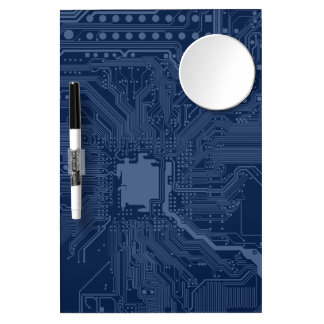 Blue Geek Motherboard Circuit Pattern Dry Erase Board With Mirror