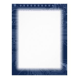 Blue Geek Motherboard Circuit Pattern Letterhead