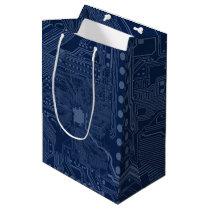 Blue Geek Motherboard Circuit Pattern Medium Gift Bag
