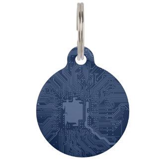 Blue Geek Motherboard Circuit Pattern Pet Tag