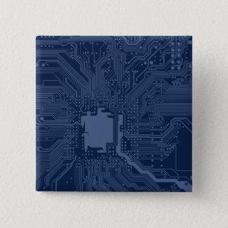 Blue Geek Motherboard Circuit Pattern Pinback Button