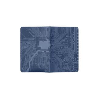 Blue Geek Motherboard Circuit Pattern Pocket Moleskine Notebook