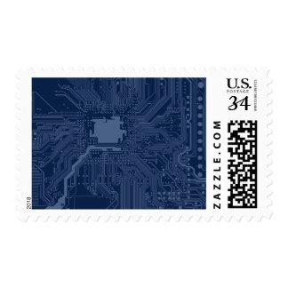 Blue Geek Motherboard Circuit Pattern Postage Stamp