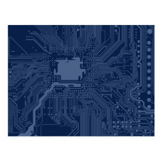 Blue Geek Motherboard Circuit Pattern Postcard