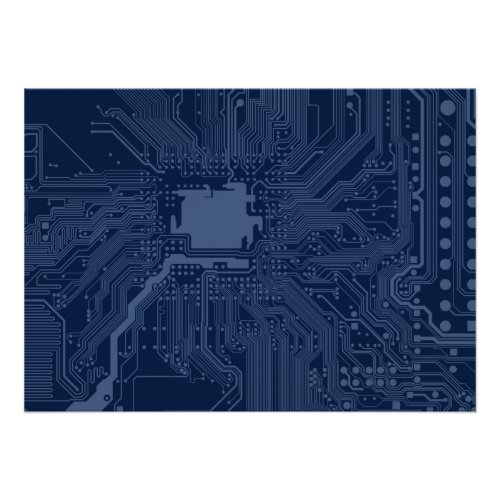 Blue Geek Motherboard Circuit Pattern Poster