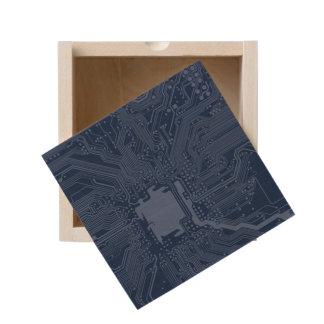 Blue Geek Motherboard Circuit Pattern Wooden Keepsake Box