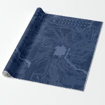 Blue Geek Motherboard Circuit Pattern Wrapping Paper