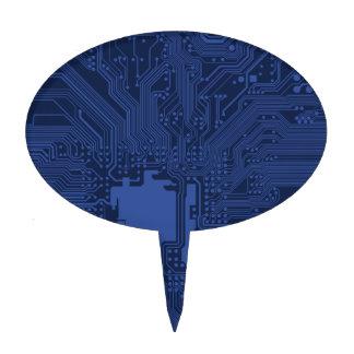 Blue Geek Motherboard Pattern Cake Picks