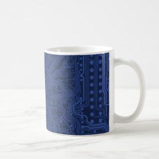 Blue Geek Motherboard Pattern Coffee Mug