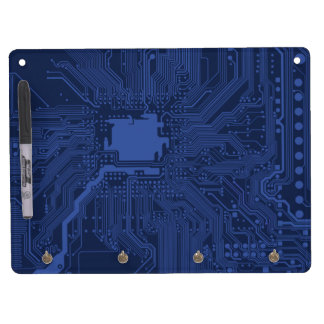 Blue Geek Motherboard Pattern Dry Erase Board With Keychain Holder