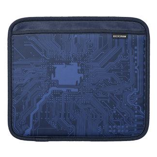 Blue Geek Motherboard Pattern iPad Sleeves