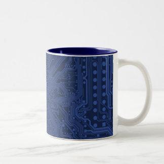 Blue Geek Motherboard Pattern Mugs