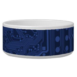 Blue Geek Motherboard Pattern Dog Food Bowl
