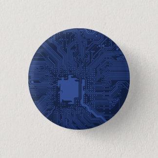 Blue Geek Motherboard Pattern Pinback Button