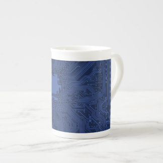 Blue Geek Motherboard Pattern Porcelain Mugs