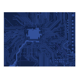 Blue Geek Motherboard Pattern Postcard