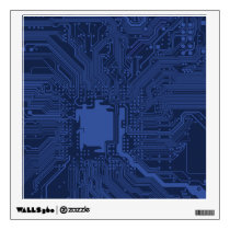 Blue Geek Motherboard Pattern Wall Decal