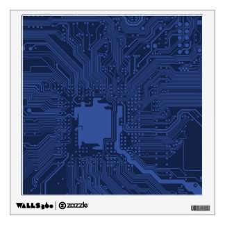 Blue Geek Motherboard Pattern Wall Graphic