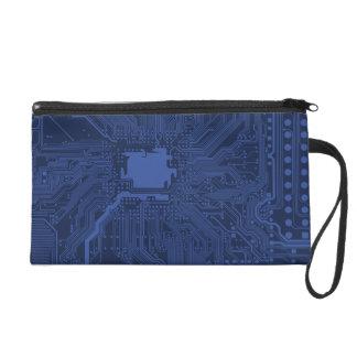 Blue Geek Motherboard Pattern Wristlet