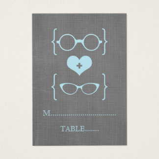 Blue Geeky Glasses Chalkboard Place Cards