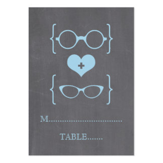 Blue Geeky Glasses Chalkboard Place Cards Large Business Cards (Pack Of 100)