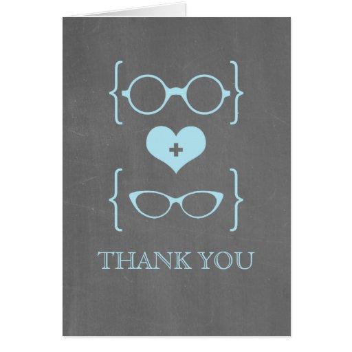 Blue Geeky Glasses Chalkboard Thank You Card