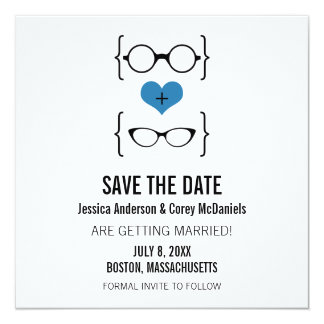 Blue Geeky Glasses Save the Date Announcement