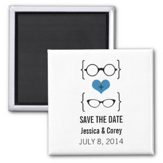 Blue Geeky Glasses Save the Date Magnet