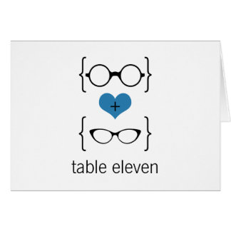 Blue Geeky Glasses Table Number Card