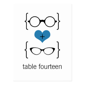 Blue Geeky Glasses Table Number Postcard