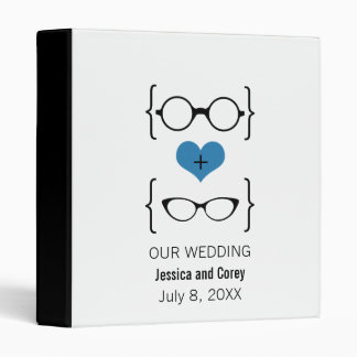 Blue Geeky Glasses Wedding Binder