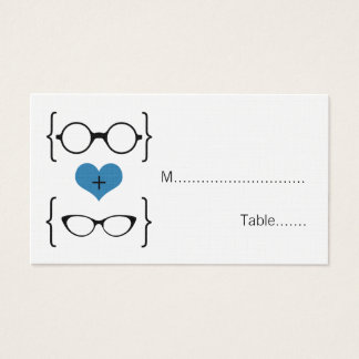 Blue Geeky Glasses Wedding Place Cards
