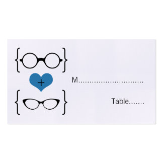 Blue Geeky Glasses Wedding Place Cards Double-Sided Standard Business Cards (Pack Of 100)