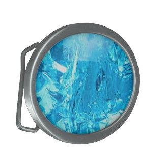 Blue Gem Design Oval Belt Buckle