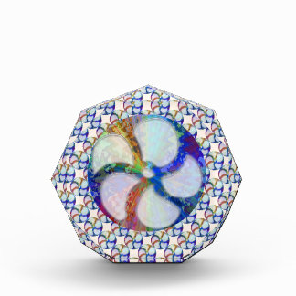 BLUE Gem Floral Pattern Acrylic Award