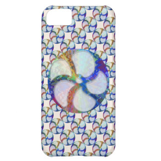 BLUE Gem Floral Pattern Cover For iPhone 5C