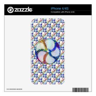 BLUE Gem Floral Pattern iPhone 4 Skins